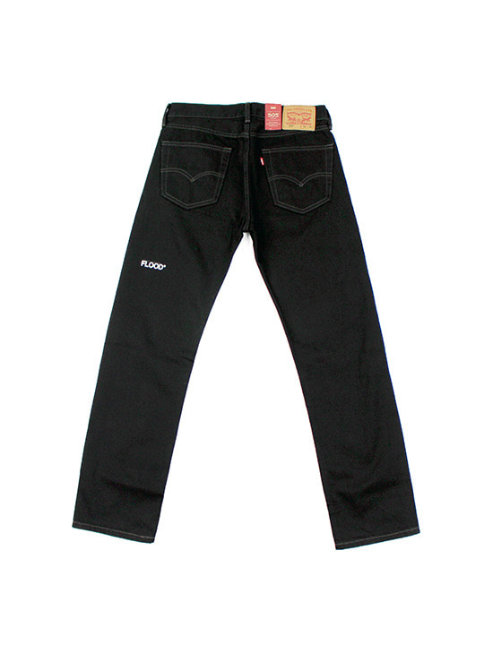 LEVI'S X FLOOD LOGO 505 DENIM PANTS / BLACK