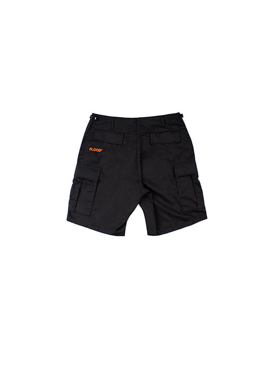 ROTHCO X FLOOD LOGO CARGO SHORTS / BLACK