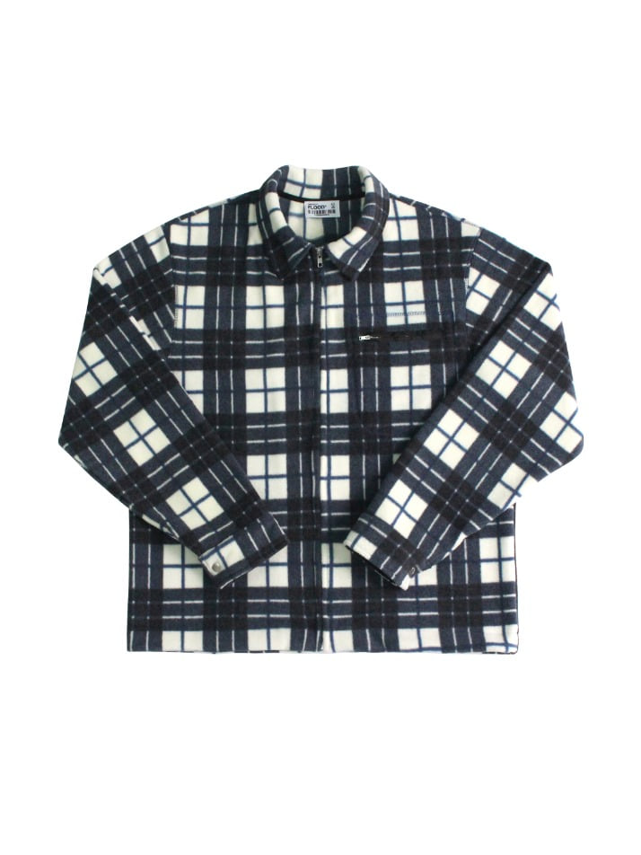 TARTAN CHECK FLEECE JACKET / OFF WHITE