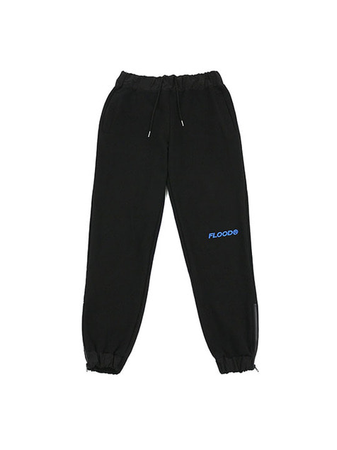 FLOOD LOGO SIDE ZIPPER SWEAT PANTS / BLACK
