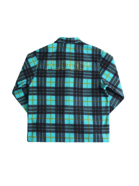 TARTAN CHECK FLEECE JACKET / BLUE GREEN